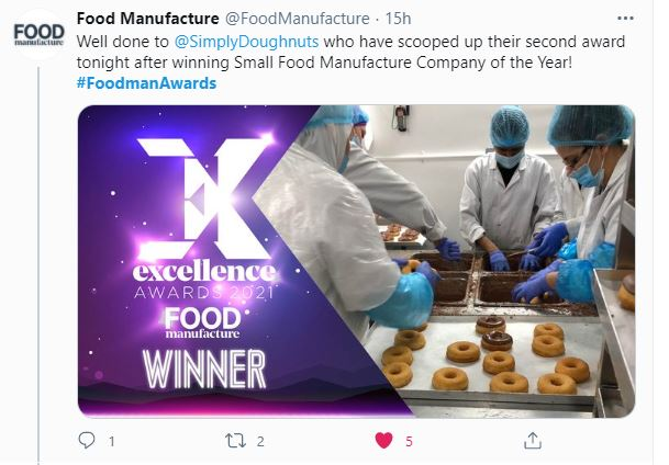 The Twitter announcement from the Food Manufacture 2021 Awards