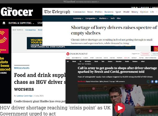 newspaper headlines concerning supply shortages